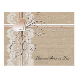 Luxury Lace Heart Burlap Save date card Postcard