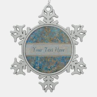 Luxury Lapis Lazuli Marble Snowflake Pewter Christmas Ornament