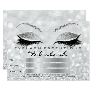 Luxury Lashes Silver Gray Makeup Certificate Gift1 Card