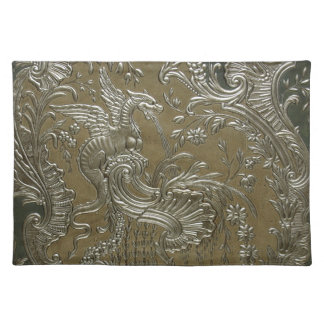 LUXURY LEATHER GILDED Silver Dragon Placemat