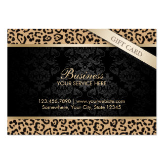 Luxury Leopard Print & Damask Gift Certificates Business Cards