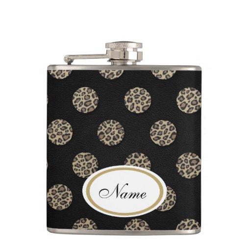 luxury leopard print polka dots leather look flask