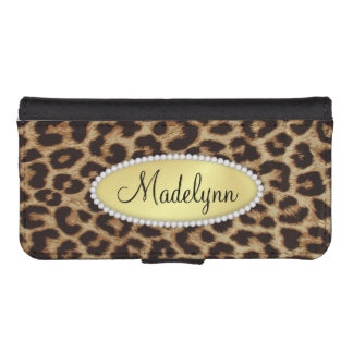 Luxury Leopard Spots with Monogram Bling iPhone5 iPhone 5 Wallet Cases