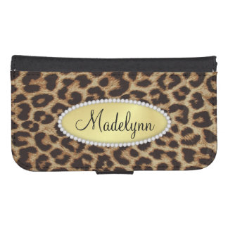 Luxury Leopard Spots with Monogram Bling Galaxy S4 Wallet Cases