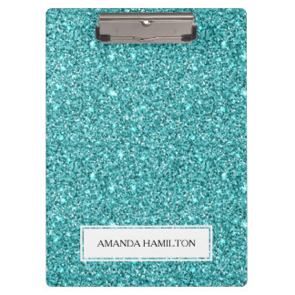 Luxury Light blue Glitter add your name Clipboard