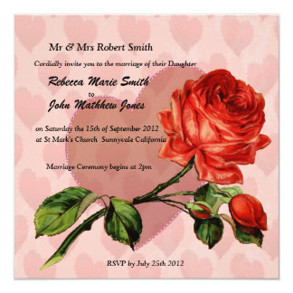 Luxury Linen red rose hearts wedding invitation