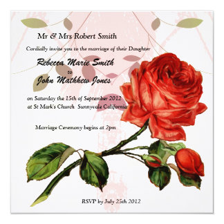 Luxury Linen red rose wedding invitation