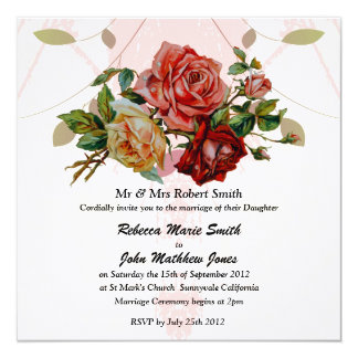 Luxury Linen Three rose wedding 13 Cm X 13 Cm Square Invitation Card