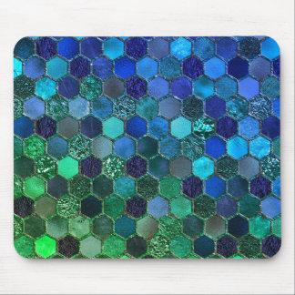 Luxury Metal Foil Glitter Blue Green honeycomb Mouse Mat