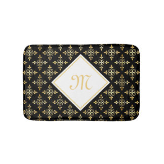 Luxury Monogram Black and Gold Quatre Floral Bath Mat