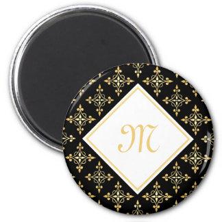 Luxury Monogram Black and Gold Quatre Floral 2 Inch Round Magnet