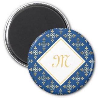 Luxury Monogram Blue and Gold Quatre Floral 6 Cm Round Magnet
