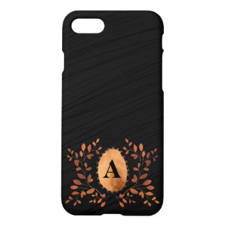 Luxury Monogram Copper on Black Silk- personalized iPhone 7 Case