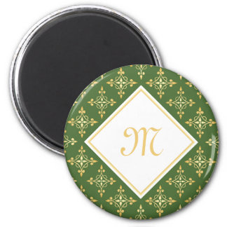 Luxury Monogram Green and Gold Quatre Floral 6 Cm Round Magnet