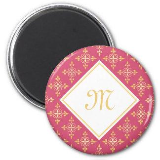 Luxury Monogram Pink and Gold Quatre Floral 6 Cm Round Magnet