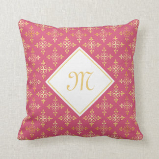 Luxury Monogram Pink and Gold Quatre Floral Cushion