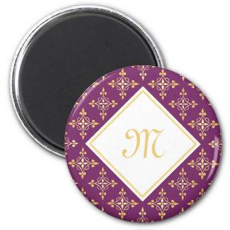 Luxury Monogram Purple and Gold Quatre Floral 2 Inch Round Magnet