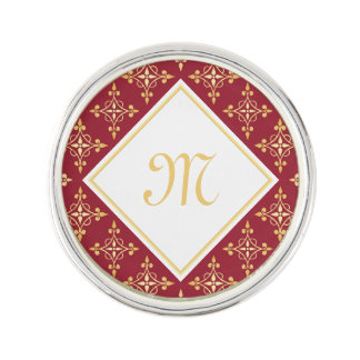 Luxury Monogram Red and Gold Quatre Floral Lapel Pin