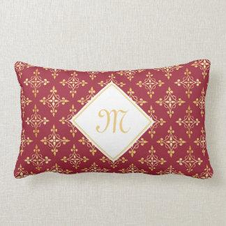Luxury Monogram Red and Gold Quatre Floral Lumbar Cushion