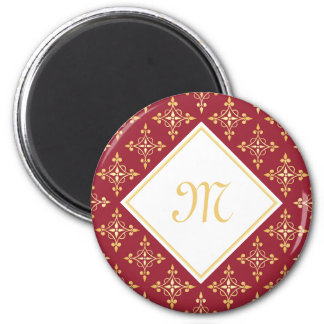 Luxury Monogram Red and Gold Quatre Floral 2 Inch Round Magnet