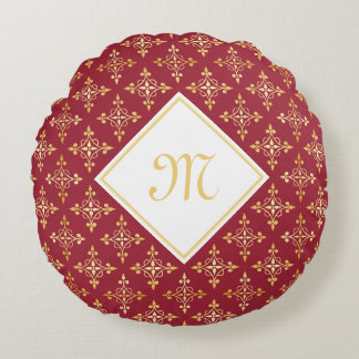 Luxury Monogram Red and Gold Quatre Floral Round Cushion