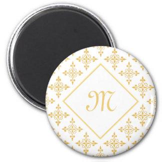 Luxury Monogram White and Gold Quatre Floral 6 Cm Round Magnet