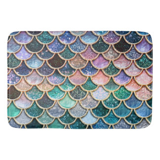 Luxury multicolor Glitter Mermaid Scales Bath Mat