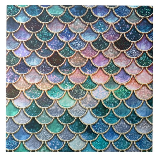 Luxury multicolor Glitter Mermaid Scales Large Square Tile