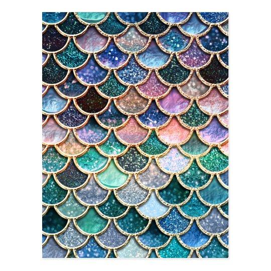 6e7f08855bda8 Luxury multicolor Glitter Mermaid Scales Postcard
