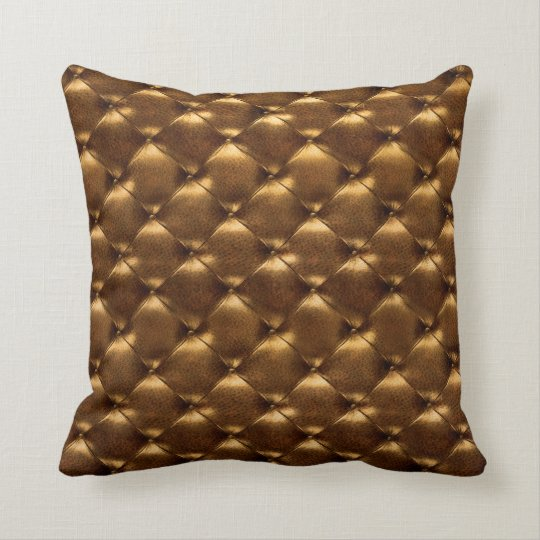 Luxury Old Gold Tufted Leather Opulent Bronze Cushion
