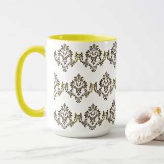 Luxury Pattern Stylish Coffee Tea Mug / Cup Yellow