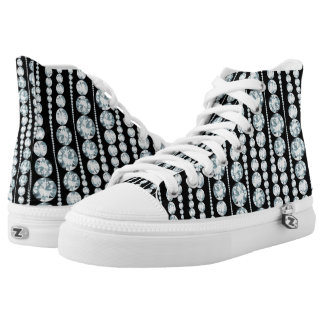 Luxury Pattern with white Diamond Stripes Printed Shoes
