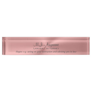 Luxury pink chrome effect Lawyer / Attorney Name Plate