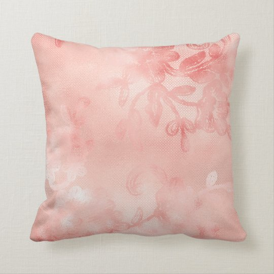 Luxury Pink Rose Gold Floral Roses Glam Cushion