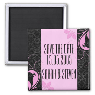 Luxury Pink Swirls Black Damask Save the date Square Magnet
