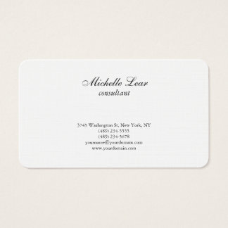 Luxury Premium Linen Black & White Plain Classical Business Card