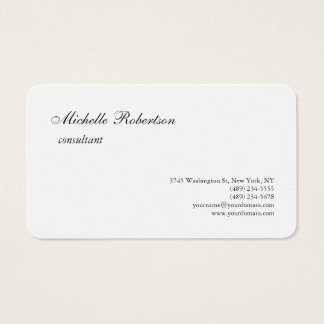 Luxury Premium Linen Black White Plain Minimalist Business Card