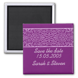 Luxury Purple Lace Elegant Save the date Square Magnet
