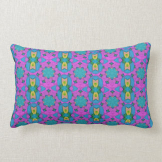 Luxury Purple Teal Gold Floral Patterned Lumbar Cushion