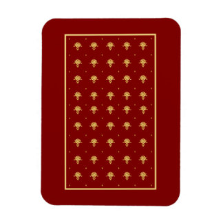 Luxury Red and Gold Vintage Damask Pattern Rectangular Photo Magnet