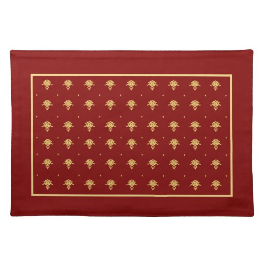 Luxury Red and Gold Vintage Damask Pattern Placemat