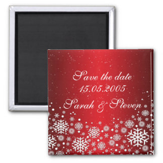 Luxury Red Christmas Spirit Save the date Square Magnet