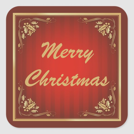 Luxury Red Customisable Christmas Square Sticker