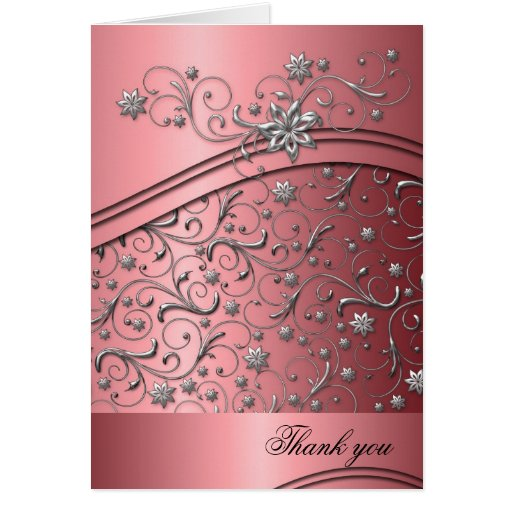 Luxury Red Damask Swirls Thank you card Cards