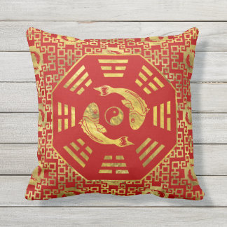 Luxury  Red on gold Pair of Koi Fish in Bagua Outdoor Cushion