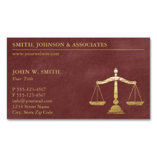 Luxury Red Scales of Justice Gold (effect) Lawyer Magnetic Business Cards