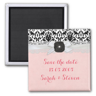 Luxury Ribbon Black Damask Save the date Square Magnet