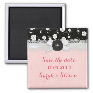 Luxury Ribbon Black Floral Damask Save the date Square Magnet