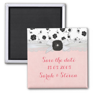 Luxury Ribbon Floral Damask Save the date Square Magnet
