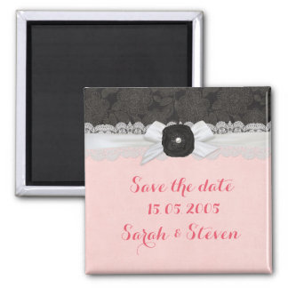 Luxury Ribbon Lace Damask Save the date Square Magnet